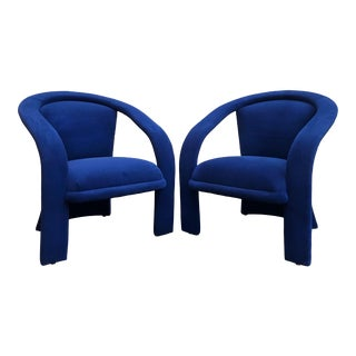 Sculptural Post Modern Marge Carson Armchairs in New Indigo Cotton Velvet- a Pair For Sale