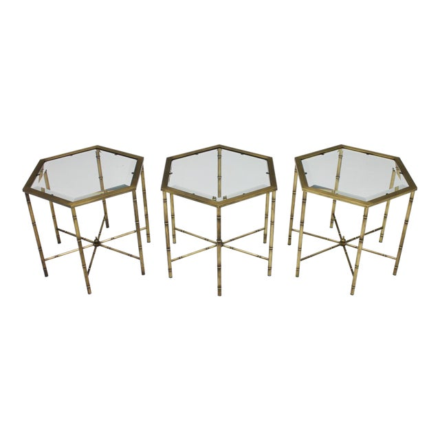 Set of Three Octagonal Side Table in Brass and Glass, 1970s For Sale