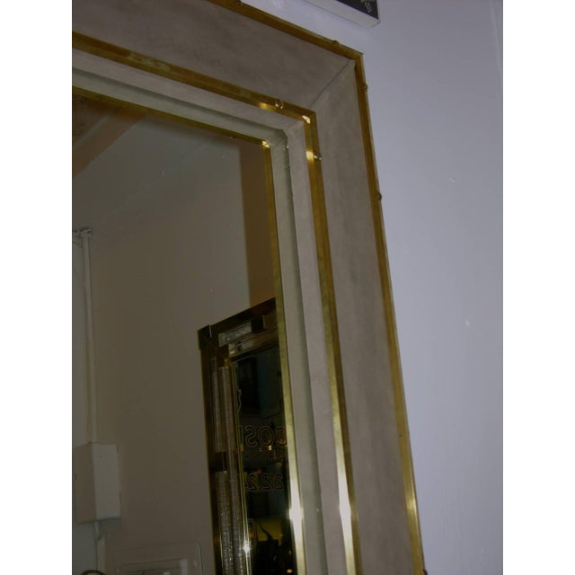 1970s 1970s Italian Suede Leather Floor Mirror With Modern Bronze Accents For Sale - Image 5 of 11