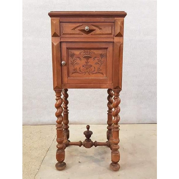 Antique French Vanity Armoire Barley Twist Stand Desk With Marble Top For Sale - Image 13 of 13