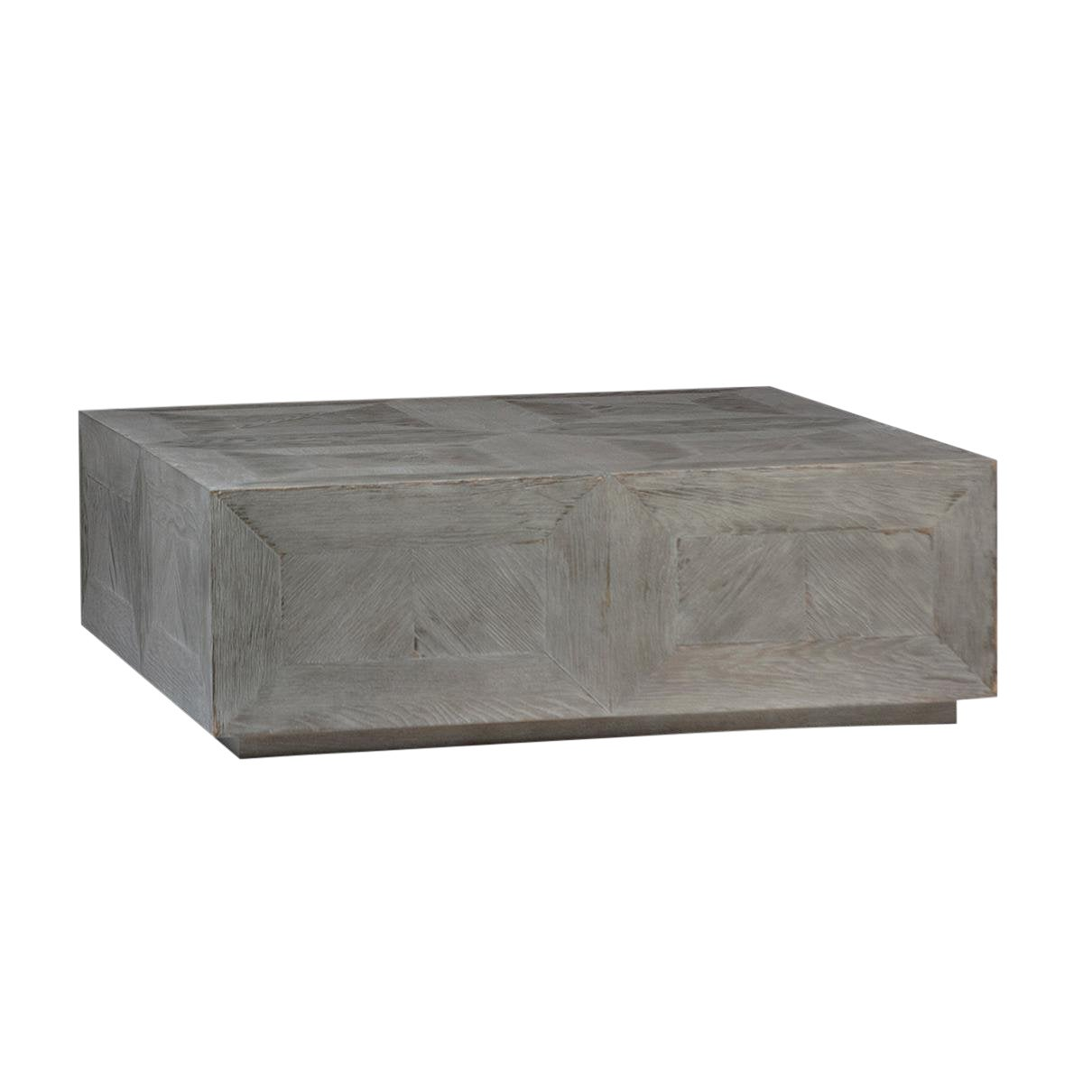 Grey wood block coffee table chairish
