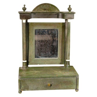 Painted Dresser Mirror With Fan Carved Pediment From Mid-19th Century England For Sale