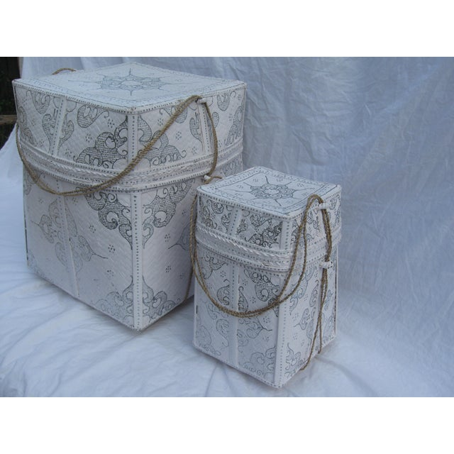 Balinese White & Silver Offering Baskets - A Pair - Image 3 of 7