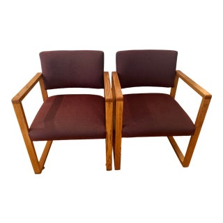 Pair of Mid Century Modern Oak Upholstered Office Chairs With Arms For Sale