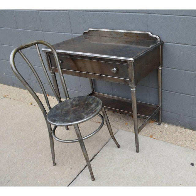 Mid-Century Simmons Steel Desk with Steel Chair Labelled Physicians' Nurses' - Image 3 of 10