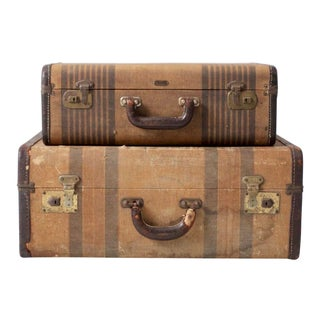 Vintage Striped Suitcases - a Pair For Sale