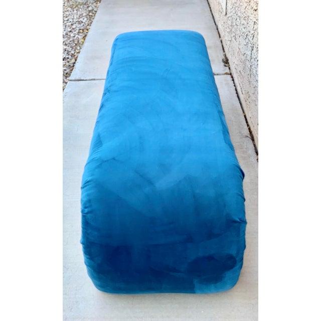 Karl Springer Karl Springer Style Waterfall Bench in Teal Velvet For Sale - Image 4 of 8