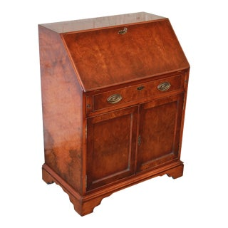Vintage Burled Walnut Slantfront Secretary Desk For Sale