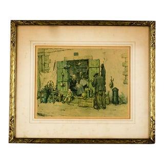 "Early 20th Century Antique Tavík Frantisek Simon ""Curiosity Shop"" Aquatint Etching on Paper Print For Sale"