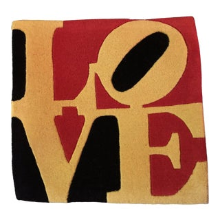 "Robert Indiana Galerie-F ""Liebe Love"" Tufted Rug For Sale"