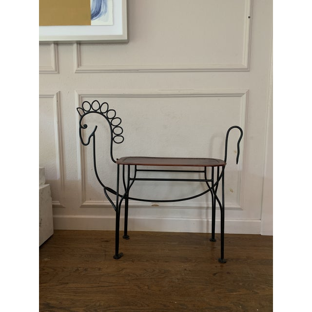 Traditional 1980s Vintage Leather and Iron Handmade Sculptural Horse Stools- A Pair For Sale - Image 3 of 6