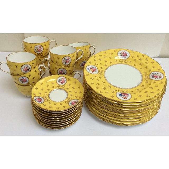 Vintage Spode China Set Yellow With Flowers - Set of 33 - Image 3 of 9