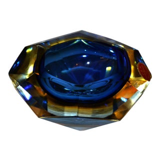 Multi Faceted Murano Glass Ashtray Attributed to F. Poli by Vetri Molati Murano For Sale