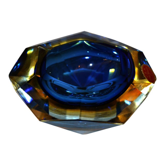 Multi Faceted Murano Glass Ashtray Attributed to F. Poli by Vetri Molati Murano For Sale