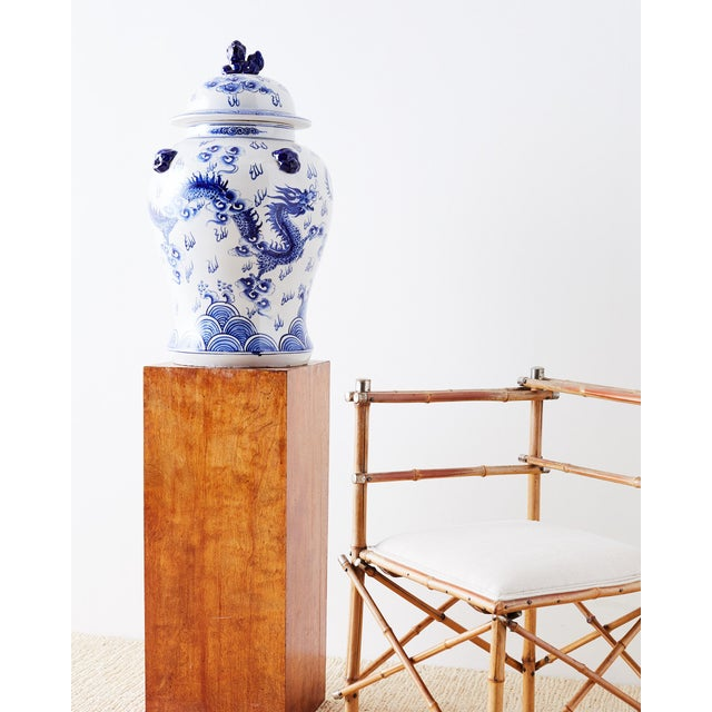 Mid 20th Century Oversized Chinese Blue and White Porcelain Ginger Jar For Sale - Image 5 of 13