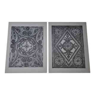 1906 English Photo-Tints, Charcoal Rubbings of Woodcarving - a Pair For Sale