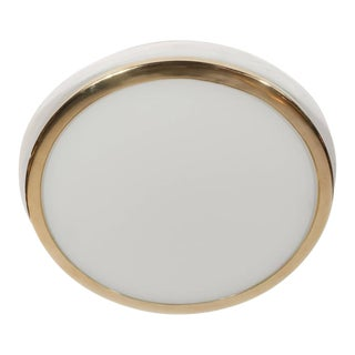 Mid-Century Scandinavian Recessed Flush Mounts with Brass and Frosted Glass For Sale