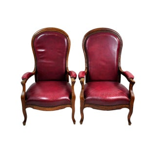 Vintage French Burgundy Red Leather High Back Chairs - A Pair