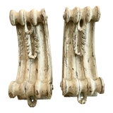 Image of Antique Large Classical Wood Carved Painted Corbels, A-Pair For Sale