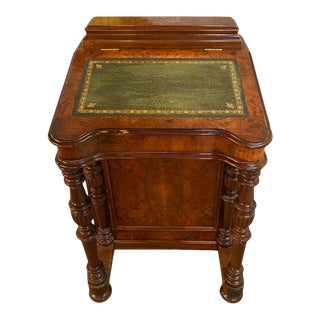 19th Century Davenport Desk Veneered Burled Walnut With Green Leather Top For Sale