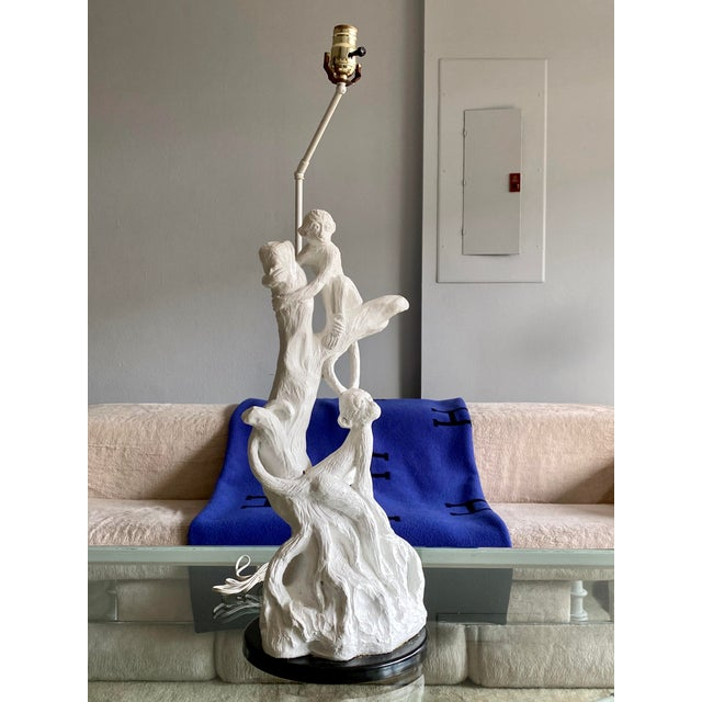 Chalk Vintage White Palm Beach Monkey Lamp For Sale - Image 7 of 11