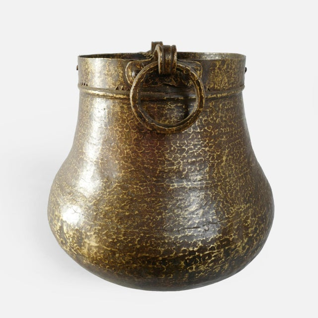 Boho Chic Vintage Brass Hammered Pot For Sale - Image 3 of 5