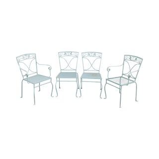 Salterini Vintage Wrought Iron Set 4 Patio Garden Dining Chairs For Sale