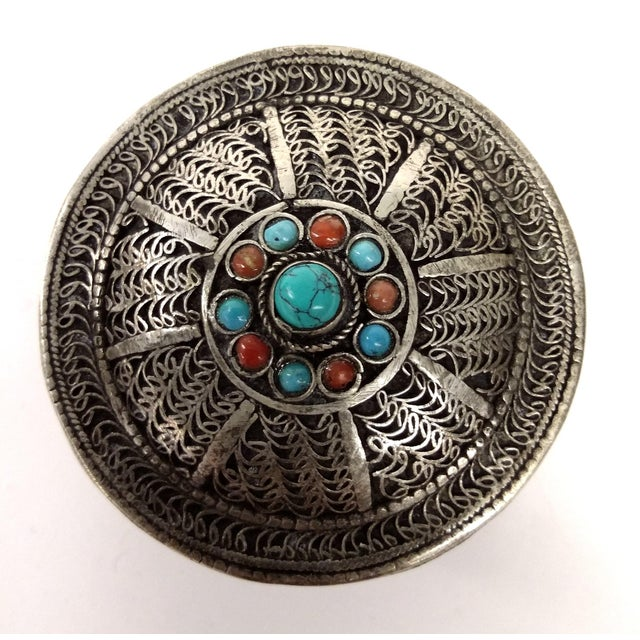 Asian Vintage Tibetan Silver Trinket Box For Sale - Image 3 of 7
