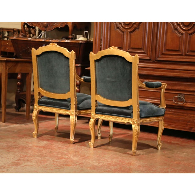 Wood Pair of 19th Century French Louis XV Carved Giltwood Armchairs With Green Velvet For Sale - Image 7 of 11