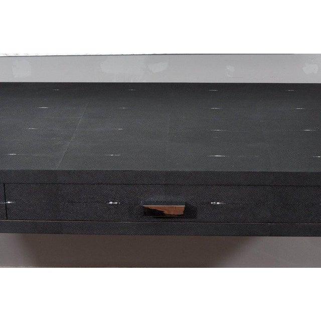 Modern Sleek Black Shagreen Desk with Lucite Side Panels For Sale - Image 3 of 7