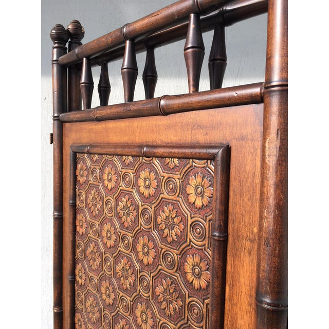 Brown Arts and Crafts Victorian Faux Bamboo Tile Mosaic Room Divider Privacy Screen For Sale - Image 8 of 11