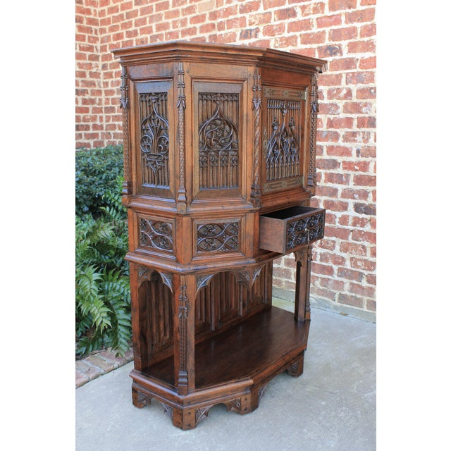 Antique French Gothic Vestry Sacristy Cabinet Oak 19th Century For Sale - Image 4 of 13
