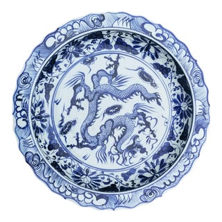 Large Blue and White Chinese Dragon Charger Plate For Sale