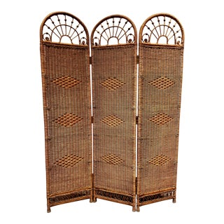 Mid Century Wicker and Rattan Folding Screen For Sale