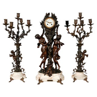 Large Antique French Clock Set with Pair of Candelabra