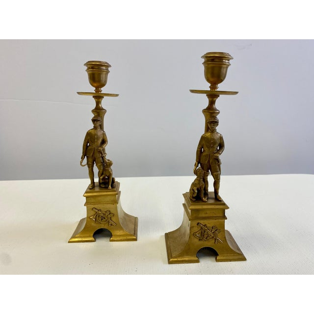French Gilt Bronze Equestrian Horseman & Hound Dog Candlesticks -A Pair For Sale - Image 4 of 9