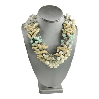 Wood Pearl & Plastic Crystal Statement Necklace For Sale