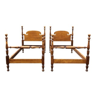 Solid Maple Cannonball Twin Beds- a Pair For Sale