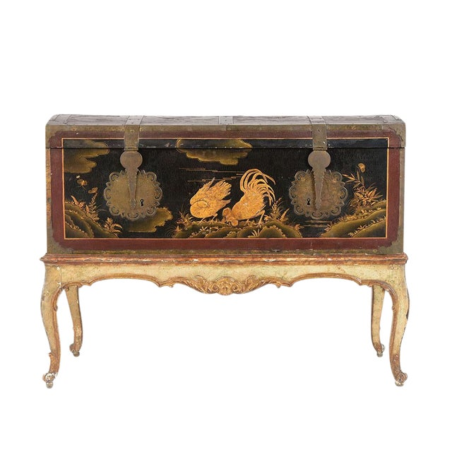 Mid 19th Century Spanish Chinoiserie Trunk For Sale