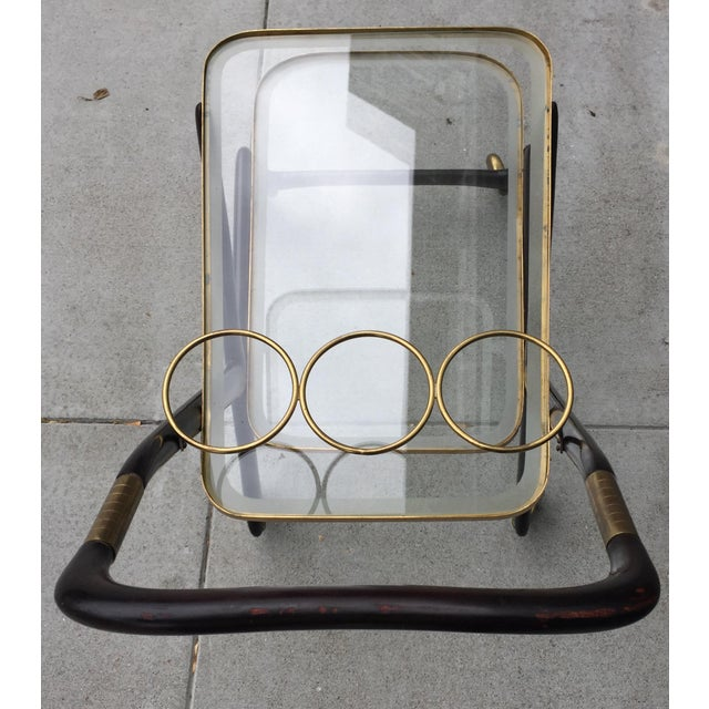 Gold 1950s Vintage Italian Cesare Lacca Bar Cart For Sale - Image 8 of 10