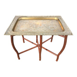 Chinese Folding Brass Tray Tea Table For Sale