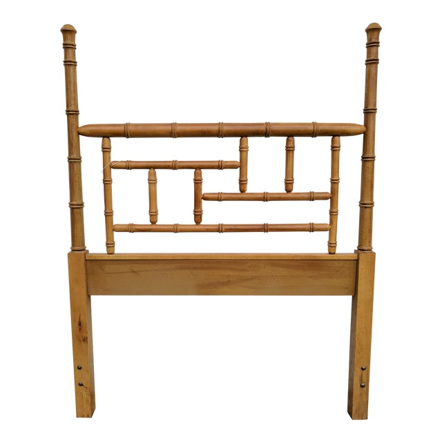 Faux Bamboo Chippendale Wooden Poster Twin Headboard For Sale
