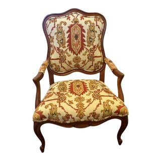 French Provincial Ethan Allen Style Accent Chair For Sale