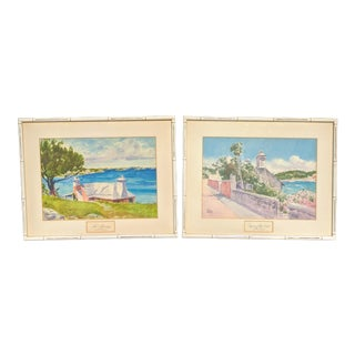A Pair- Vintage Bermuda Seascape Watercolor Paintings Signed For Sale
