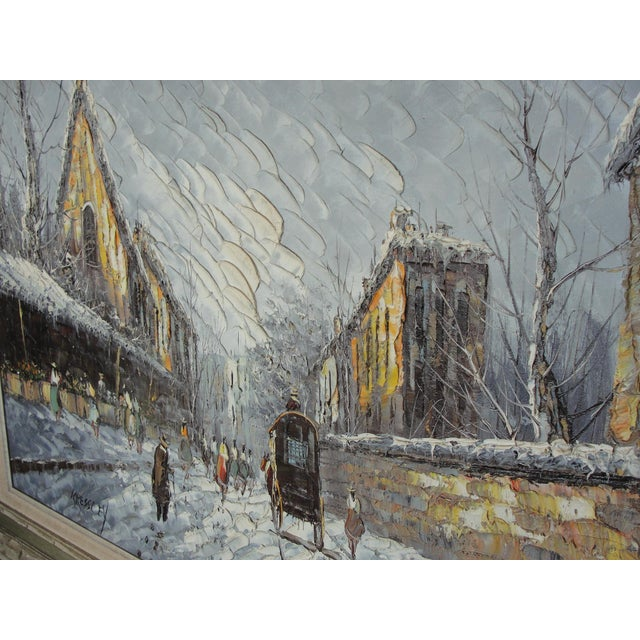 Mid-Century Impressionist Winter Cityscape For Sale - Image 10 of 11