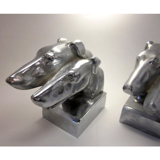 Metal Vintage Nuart Style Art Deco Machine Age Chrome Double Greyhound Whippet Borzoi Wolfhound Dog Bookends - a Pair For Sale - Image 7 of 10