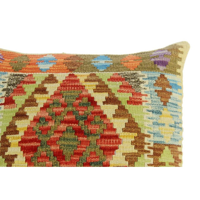 "Classie Lime Green/Brown Hand-Woven Kilim Throw Pillow(18""x18"") For Sale - Image 4 of 6"