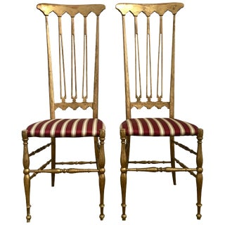 Italian Midcentury Hollywood Regency Style Giltwood Chiavari Chairs, Italy For Sale