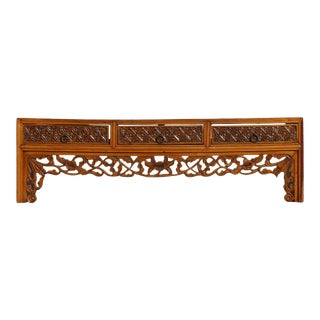 Chinese Vintage Restored Brown Floral Carving Display Chest For Sale