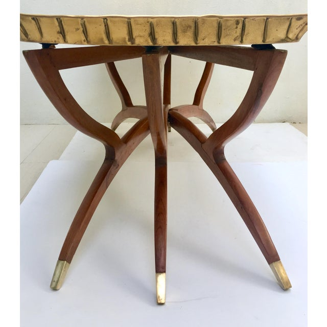 Mid-Century Moroccan Style Etched Brass & Mahogany Spider Table For Sale In West Palm - Image 6 of 10